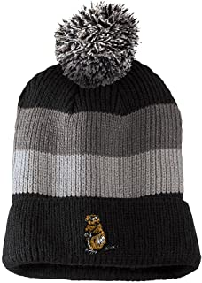 Water Otter Embroidered Vintage Striped Removable Pom Pom Beanie, One Size