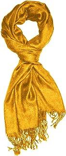 Lorenzo Cana Herren Designerschal hochwertiger Markenschal jacquard gewebtes Paisley Muster 60 cm x 200 cm Viskose harmonische Farben gelb goldgelb Schaltuch 9307811