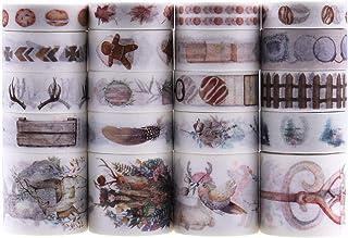Lychii Washi Tape Set, 20 Rouleaux Ruban Adhésif Décoratif Masking Tapes pour Arts, Bullet Journal, Scrapbooking, Bricolag...