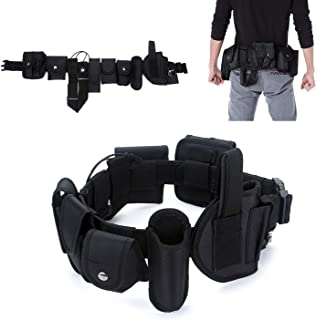 YAHILL Law Enforcement Utility Tactical Belt, Security Military Police Gear Heavy Duty Belt Nylon Combat Officer Equipment with Pouches Holster Gear, Black
