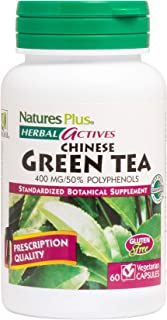NaturesPlus Herbal Actives Chinese Green Tea - 400 mg, 60 Vegan Capsules - Nutritional Support for Free-Radical Defense & Overall Well-Being - Vegetarian, Gluten-Free - 60 Servings
