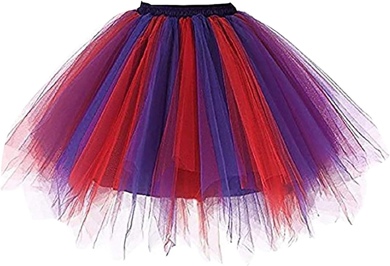 Women's Classic Tutu Skirts Layered Tulle Princess Dresses Pleated Gauze Short Skirt Adult Dancing Skirt Ballet Clothes