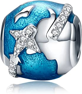 Ocean Blue Earth World Globe Dangle Beads Airplane Travel with Stars Crystals World Trip Charms I Love Travel Charm 925 Sterling Silver Charms Beads for European Charm Bracelets (Aircraft Charms)