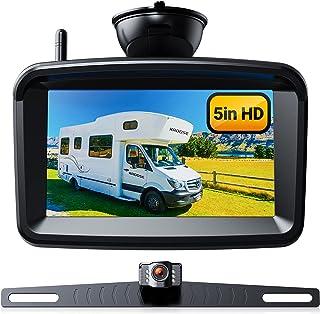 Wireless Backup Camera 5' Monitor, 720P HD License Plate Reverse Night Vision Camera w/ Stable Signal for Rear View Car/Pickup/Semi Box Truck/Sedan/Rv/Van/Camper, No Water-in, S04