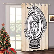 Occult - Thermal Insulated Drapes for Patio Door Illustration of Medium Crystal Ball for Mystery with Tattooed Hands Future Psychic - Sliding Door Drapes with Grommet Top W52 x L84 Inch Tan Black