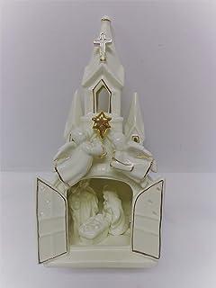 Giftco, Inc Glazed Ceramic Nativity Church with Gold Tone Trim