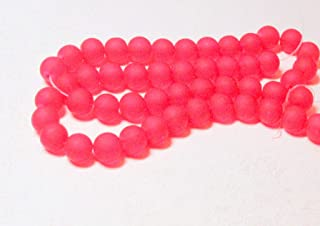 25 Frosted Sea Glass Round / Rocaille Beads Matte - Siam Ruby 10mm