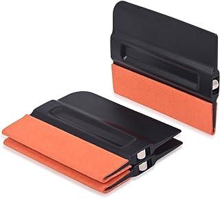 Winjun 3 Stück Autofolie Magnet Rakel mit Filzkante Folienrakel Filzrakel für Car Wrapping Folie Tönungsfolie Fensterfolie Werkzeug, Schwarz, 10cm x 7,5cm