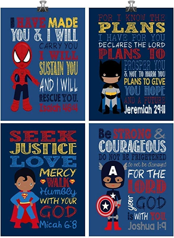 African American Superhero Inspirational Nursery Decor Art Set Of 4 Prints Batman Captain America Superman And Spiderman
