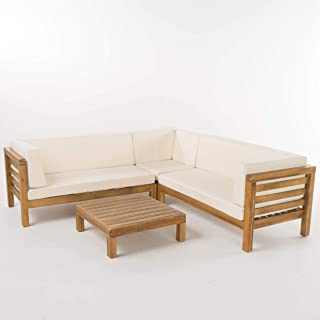 Christopher Knight Home 299117 Ravello 4-Piece Outdoor Acacia Wood Sectional Set w/Water Resistant Cushions |, Teak Finish + Beige