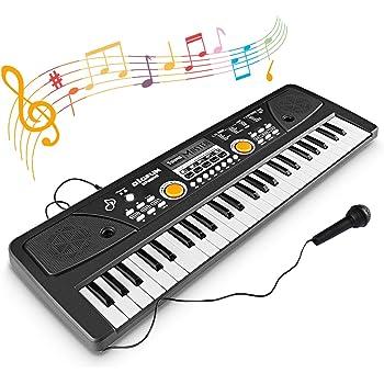 WOSTOO Teclado Electrónico Piano 49 Teclas, Teclado de Piano Portátil con Micrófono Teclado portátil Regalo para Niño, Niña Principiantes