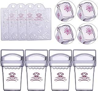 Makartt Nail Stamping Kits 4pcs Clear Nail Stampers 4pcs Nail Scrapers 4pcs Silicone Nail Art Stamper Heads Nail Stamper and Scraper Kit, S-02