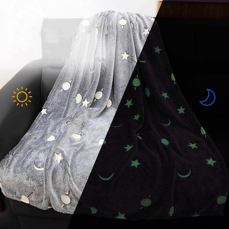 Fuyamp Manta de franela de microfibra suave que brilla en la oscuridad Constelaciones manta polar manta para todas las estaciones gris 100 x 150 cm