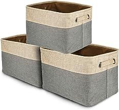 Willemer Large Storage Bins Basket Set (Set of 3), Rectangular Linen Fabric Collapsible Organizer Carry Handles (Cream - G...