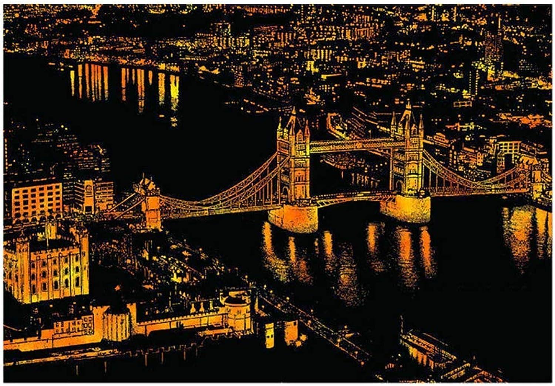 Scratch Art, World Famous London Attractions Scratch Paper Art Scratch for Kids of Adult DIY Handmade