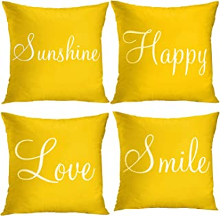 Britimes Throw Pillow Covers Yellow Home Decor Set of 4 Pillow Cases Decorative 18X18..