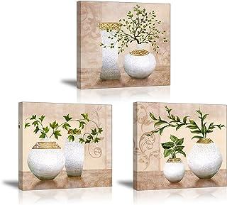 PIY 3X Cuadro Sobre Lienzo Imagen de Plantas Verdes Elegantes en Botellas de jarrón Canvas Wall Art de la Lona Arte de Par...