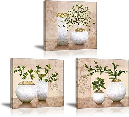 Piy 3x Impression Elegant Arbre Dans La Vase à Fleurs Sur Toile Peinture  Motif Modern Tableaux