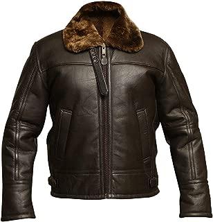 KAAZEE Men's RAF B3 Aviator Brown Bomber Faux Shearling Real Sheepskin Leather Jacket