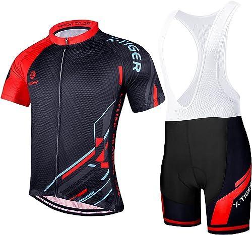 X-TIGER Maillot Maillot Cyclisme Homme Manche Courte+5D Gel Rembourré,VTT Courtes Respirant Vêtements de Cyclisme Spo...