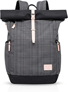 FANDARE Roll-Top Rucksäcke Schulrucksack mit USB Schultasche für 15.6 Zoll Laptop Schulranzen Daypacks Tagesrucksack für Herren Damen Reise Büro Alltag Freizeit Camping Rucksack Polyester Grau A