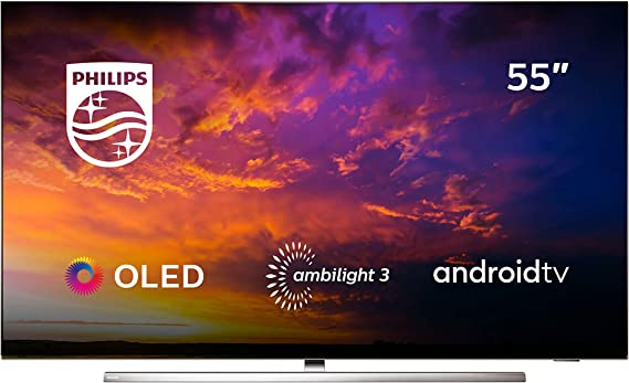 Philips 55OLED854/12 - Televisor Smart TV OLED 4K UHD, 55 Pulgadas, Android TV, Ambilight 3 Lados, HDR10+, Dolby Vision, Google Assistant, Compatible con Alexa, Color Gris