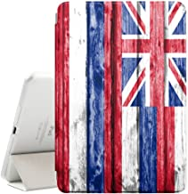 FJCases Hawaii The Aloha State Wood Pattern Flag Smart Cover Stand + Back Case with Auto Sleep/Wake Function for Apple iPad 9.7