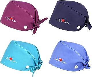 Xinzistar Cappello Scrub Cotone Regolabil Bouffant Turbante Cappelli Cappello Medico per Unisex Donna Uomo Infermiere Forn...