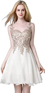 Womens Lace Applique Homecoming Dresses Short Beaded Cocktail Gowns LX418