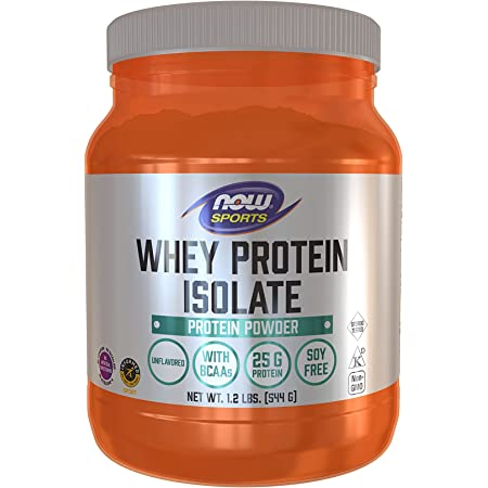 NOW Sports Nutrition, Whey Protein Isolate, 25 G With BCAAs, Unflavored Powder, White, 1.2 lb