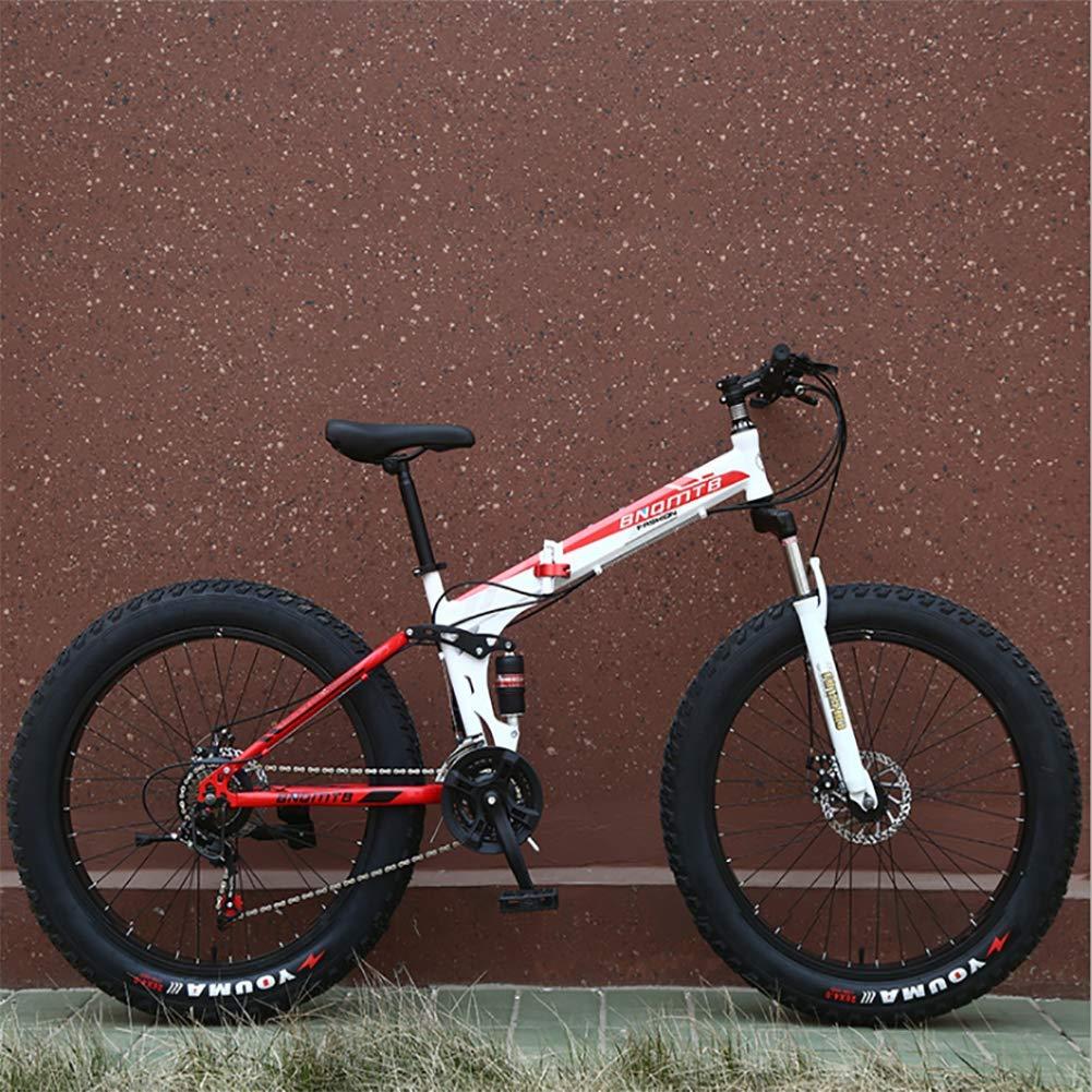 XIAOFEI Bicicleta Nieve Plegable Doble AbsorcióN Choque Velocidad Variable Freno Disco Bicicleta MontañA 26 Pulgadas ...
