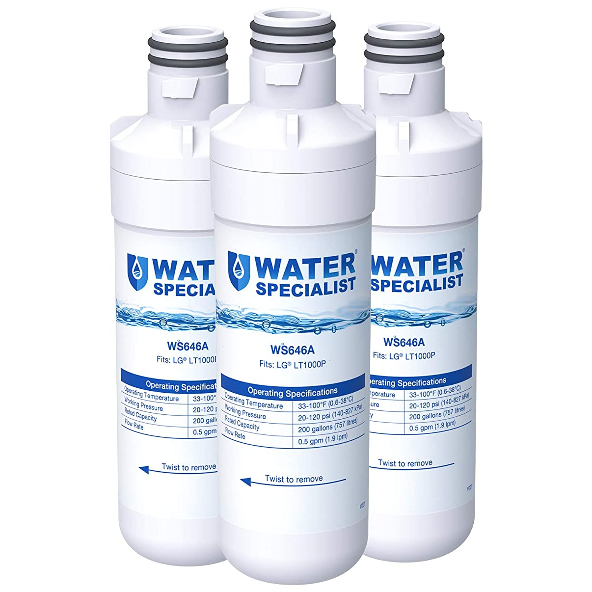 Waterspecialist MDJ64844601 Refrigerator Water Filter, Replacement for LG LT1000P, LT 1000P, LT1000PC, LT1000PCS, LFXC24796S, LSFXC2496D, ADQ74793501, ADQ74793502, Kenmore 46-9980, 9980 (Pack of 3)