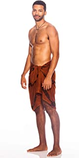 1 World Sarongs Men's Tattoo Fringeless Sarong
