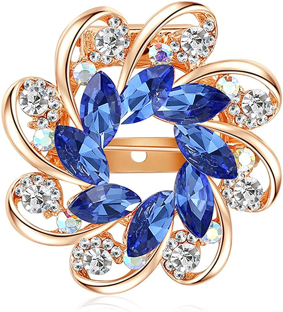 YAZILIND Crystal Alloy Round Flowers Brooch Pin Luxury goods Br Manufacturer OFFicial shop Scarf Wedding