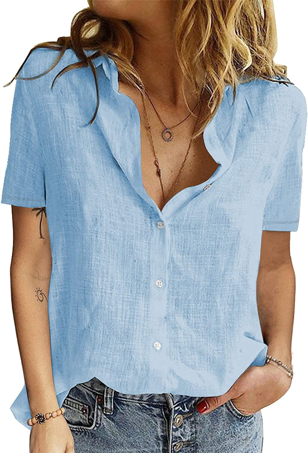 Astylish Women V Neck Roll up Sleeve Button Down Blouse Top