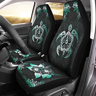 VTH Global Hawaiian Print Tribal Blue Sea Turtles Tropical Hibiscus Flower Hawaii Car Seat Covers Set of 2 Front Bucket Seat Protector Accessories Size Universal Fit Any Cars Trucks Vans SUV
