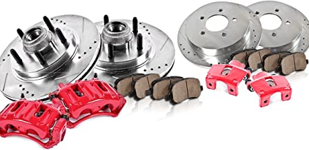 CCK12336 FRONT + REAR Powder Coated Red [4] Calipers + [4] Rotors + Quiet Low Dust [8] Ceramic Pads Performance Kit