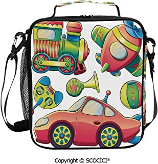 SCOCICI Square Meal Bag Travel Lunch Box,Funny Transportation Toys with Train Car Airplane Horn Balls Auto Tire Cartoon Design,with Zipper and Durable Handle