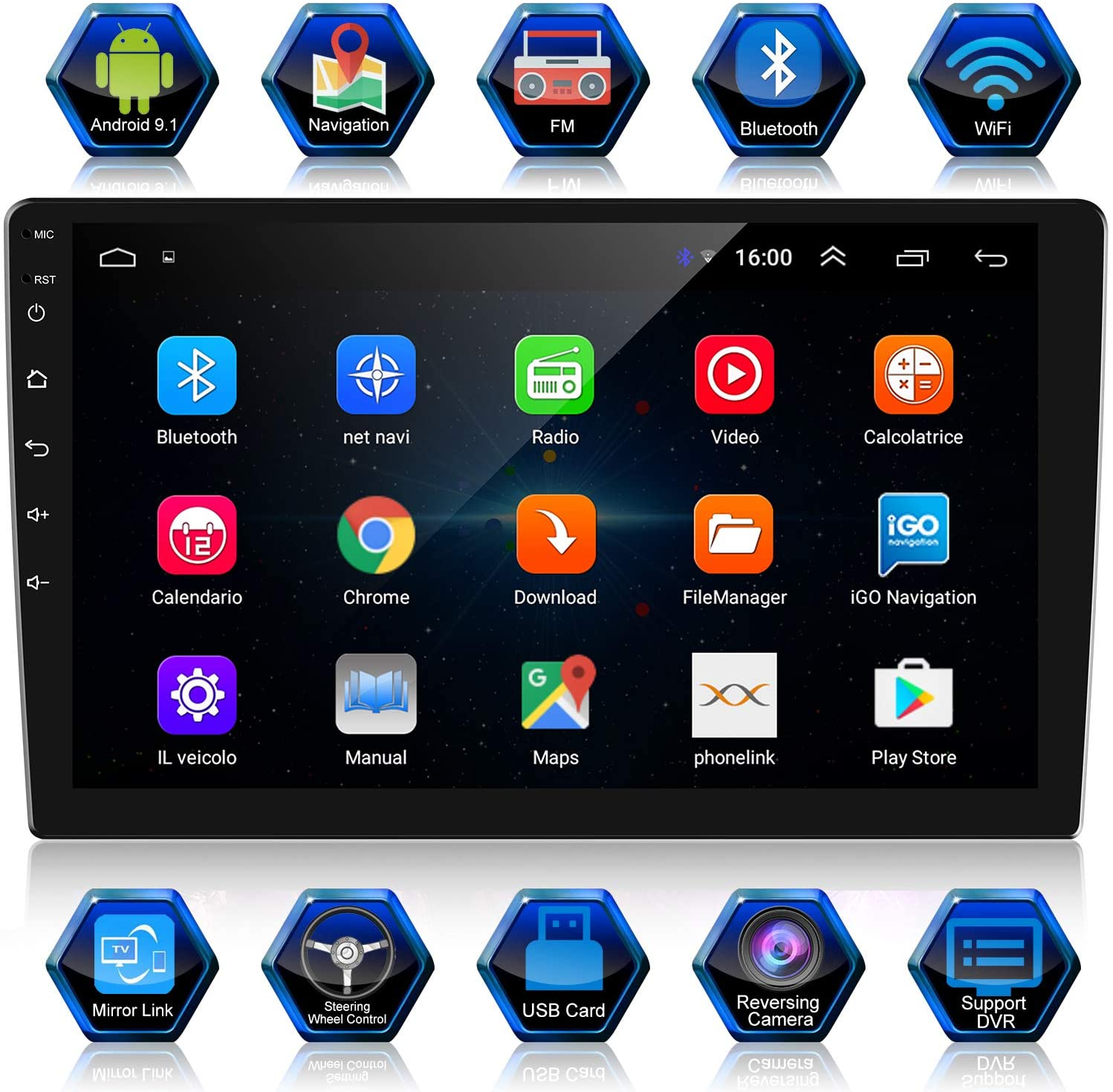ANKEWAY Double Din Android Car Stereo with GPS/HiFi/WiFi/Bluetooth/RDS/FM, 10.1 Inch 1080P HD Touch Screen Car Radio Bluetooth Hands-Free Supports Mirror Link(Android/iOS)+Backup Camera+Dual USB