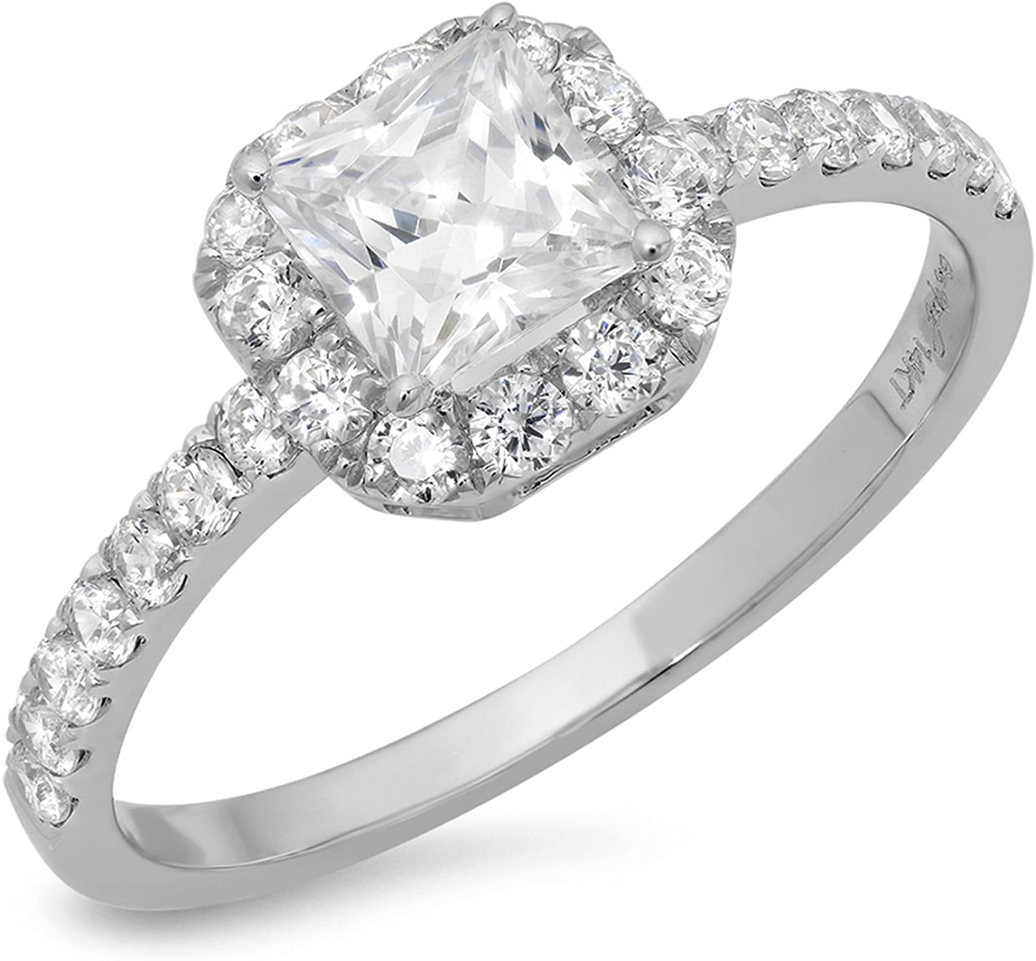 1.34ct Brilliant Princess Cut Solitaire with accent Genuine Lab Created White Sapphire Ideal VVS1 & Simulated Diamond Engagement Promise Statement Anniversary Bridal Wedding Ring Solid 14k White Gold