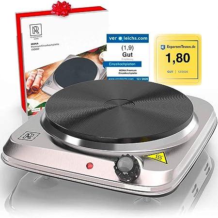 M. ROSENFELD Premium Cocina Eléctrica Portátil 1500 W, Hornillo Eléctrico de Acero Inoxidable y Cable Largo de 150 cm - Sólida Mini Cocina de Camping, ...