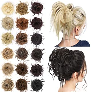 AISI BEAUTY Tousled Updo Hair Pieces Messy Bun Hair Scrunchies Extensions Hair Pieces and Ponytails Hair Extensions for Women (12A/613#(Ginger Brown Mix Bleach Blonde))