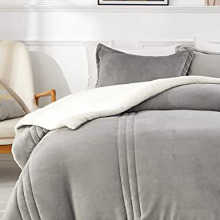 Full//Queen Lorient Home Reversible 3 Piece Fleece//Sherpa Down Alternative Comforter Set Dark Grey