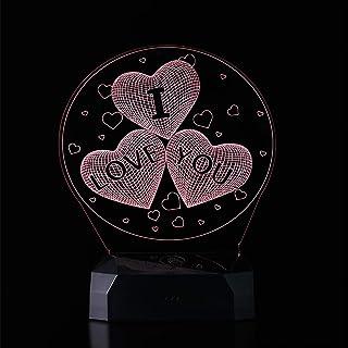 Sarsen&Co - Lámpara LED con forma de corazón 3D, luz de ambiente, luz nocturna, 16 colores con mando a distancia + batería, idea decorativa para amor y regalo