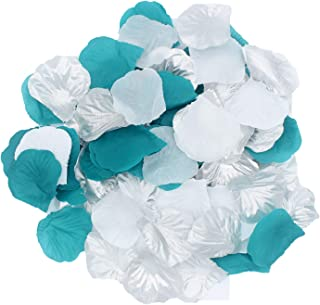 2NDTONONE 900Pcs Teal Silver White Silk Rose Petals Artificial Flower Petals for Wedding Party Table Confetti Aisle Runner Flower Girl Toss Bridal Shower Hotel Home Vase Decoration