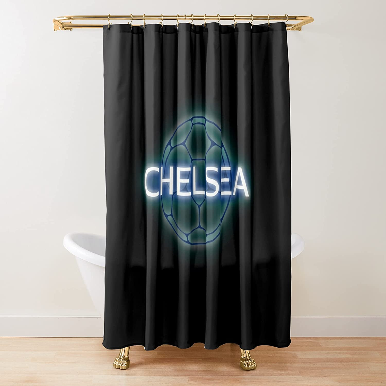 Chelsea Football Neon Glow Badge Curtains Fabric Printed 35% OFF Shower OFFicial shop