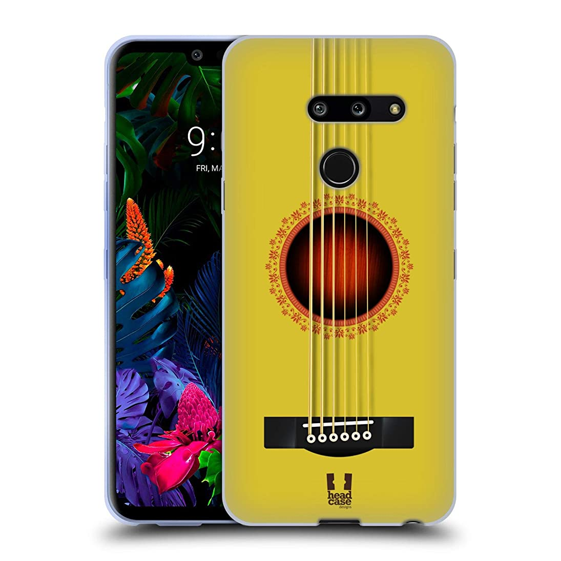 Head Case Designs Yellow Acoustic Guitar Soft Gel Case Compatible for LG G8 ThinQ unnuxjbhaog960