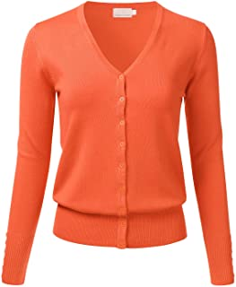 Women's Button Down V-Neck Long Sleeve Knit Cardigan with Sleeve Button Detail (S-3XL)