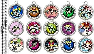 15 Powerpuff Girls SILVER Bottle Cap Pendant Necklaces Set 2