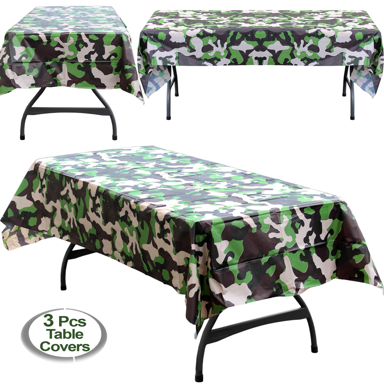 Anapoliz Army Plastic Tablecloth 3 Pcs Pack 54 Inch Wide X 108 Long Rectangular Camouflage Table Cover Military Party Decorations Camo Buy